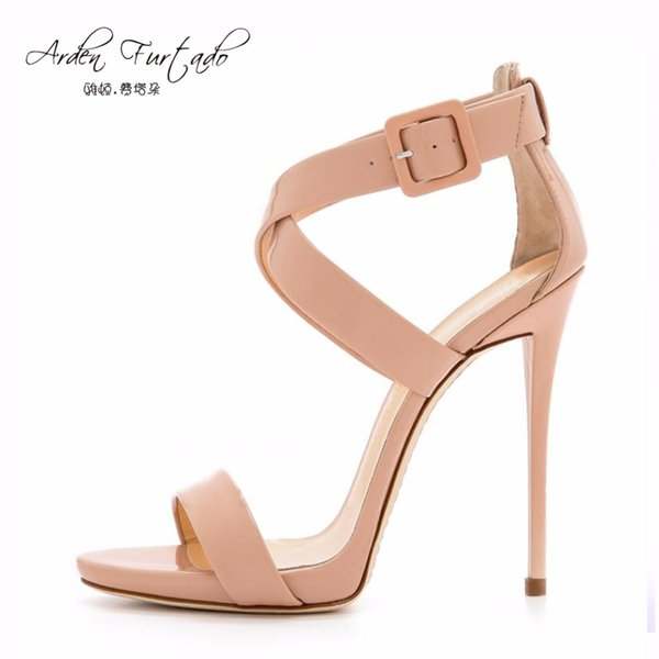 Arden Furtado new 2017 summer shoes for woman nude Stiletto extreme high heels sexy cover heel buckle wrap peep toe plus size