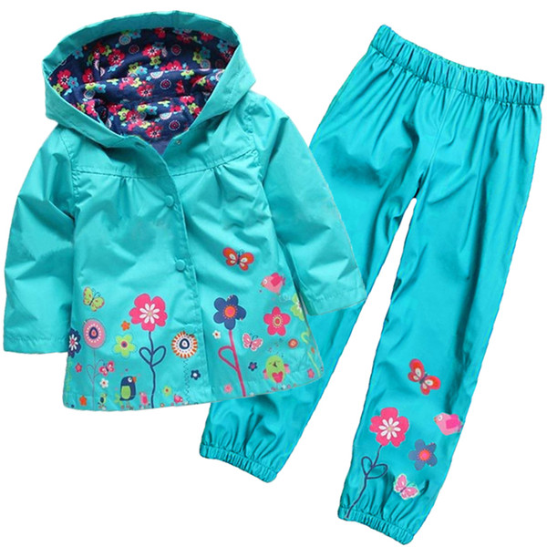 Wholesale- 2016 new children waterproof suit (hoodie + pants) Children's printed suit Girls fashion suits Girls raincoat suit Kids clothes