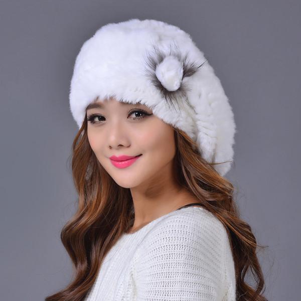 Sombrero de las boinas calientes al por mayor de las mujeres en invierno 2016 marca piel real del conejo que hace punto el sombrero para las mujeres gorras de la boina del quailty del color sólido