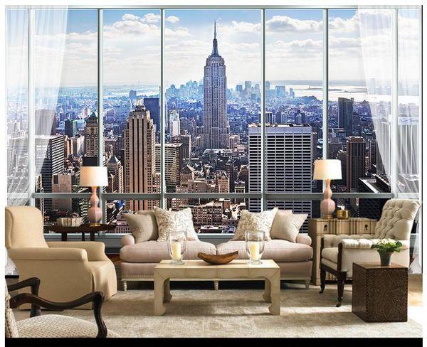 top popular 3D photo wallpaper custom wall murals wallpaper European-style 3D three-dimensional window New York high-rise building TV backdrop wallpaper 2021
