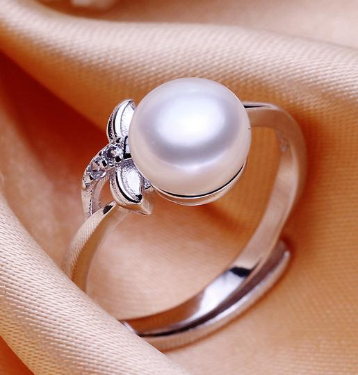 Wholesale 8-9mm white pink purple three colors oblate Natural pearl ring 925 silver JZ0093