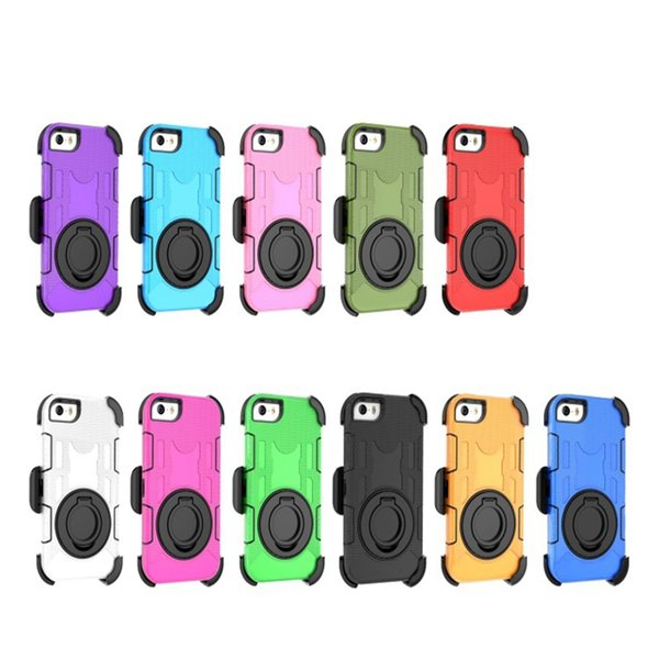 4 Layer Protective Dropproof Dirtproof Shockproof Rugged PC Silicon Holster Case Cover with Kickstand Belt Clip for iPhone 7 Plus 7