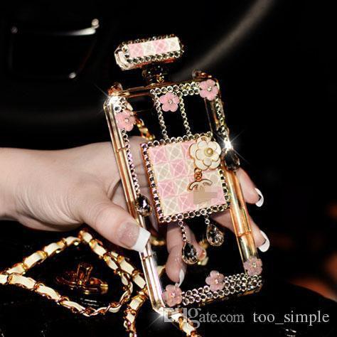 Custodia protettiva trasparente di lusso in metallo con catena in metallo con diamante TPU per iPhone 7 6 6s Samsung Galaxy S8 Plus S7 Cover