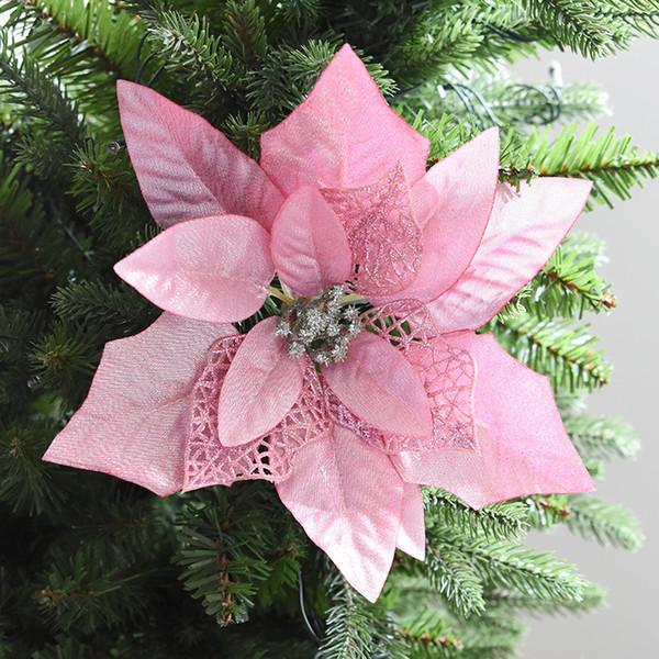 Großhandel Schöne Glitter Schöne Weihnachten Hollow Künstliche Blumen Silber Goldene Hochzeit Party Weihnachtsbaum Dekorationen Ornamente Festival
