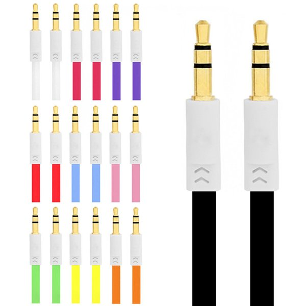 1m 3FT 3.5mm to 3.5mm flat type Car Aux audio Cable Extended Audio Headphone Stereo Cable for iphone 4 4s 5G 5S
