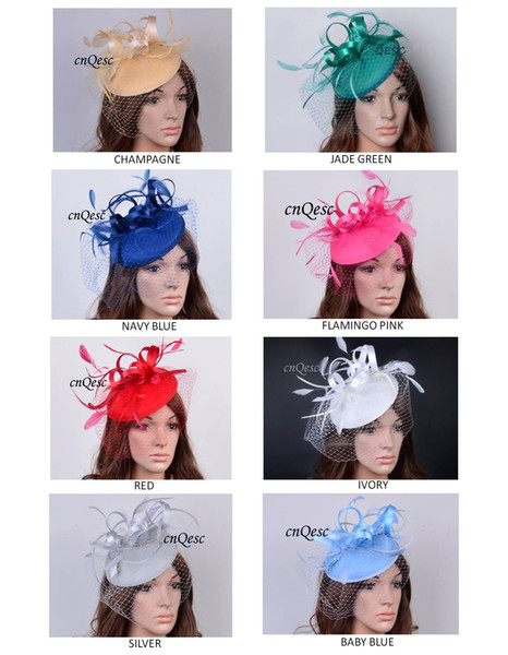 top popular Felt fascinator with satin,feathers and veiling for Kentucky derby church wedding races carnival fascinator,8 colors 2019