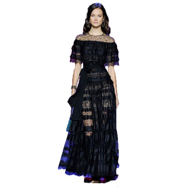 Toptan-YÜKSEK KALITE Yeni Moda 2016 Pist Maxi Elbise kadın Batwing Kollu Siyah Dantel Parti Uzun Elbise Artı boyutu S-XXL
