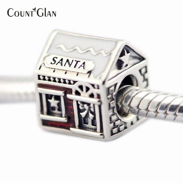Santa's Home Beads Fits Pandora Charms Bracelets Translucent Red Enamel Beads For Jewelry Making 2016 Winter Christmas Gifts