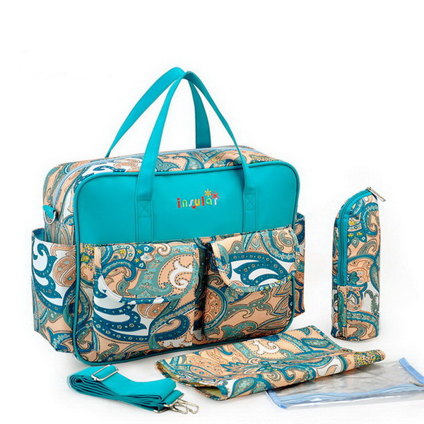 top popular Wholesale Fashion Baby Diaper Bags Waterproof Nylon Mommy Bag Nappy BagWith Breeding Bottle Pocket 2021