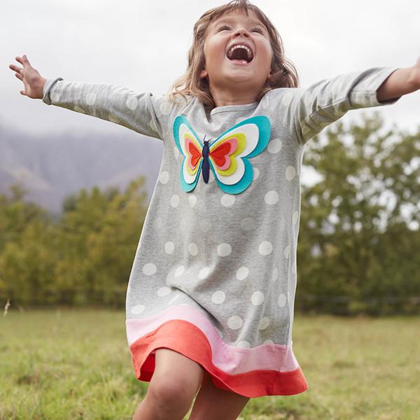 يونيكورن حزب فتاة الربيع اللباس الحيوان appliqued 100 ٪ القطن الاطفال فستان طويل الأكمام لملابس الاطفال