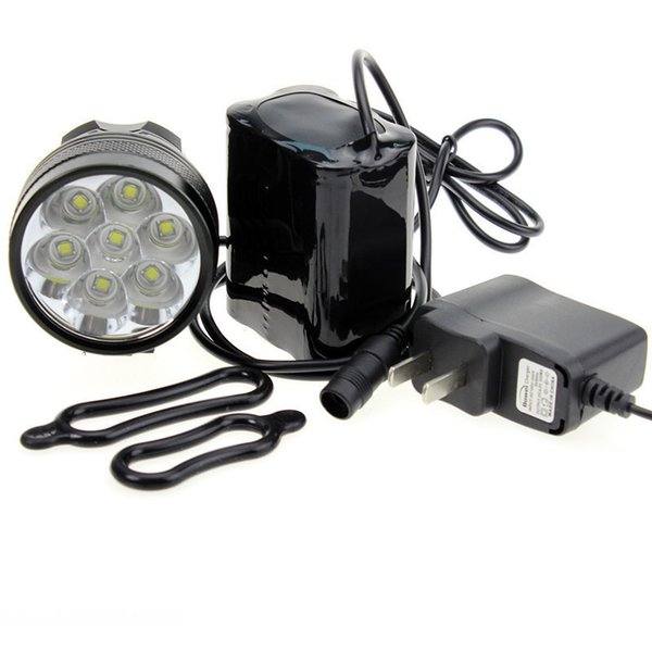Waterproof 10000Lm 7 x CREE XML T6 LED Bright Bicycle Bike Front Flash Light headlamp + 8.4V Rechargeable Battery Pack + Charger