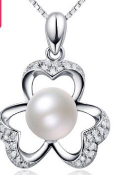 3 pcs wonderful 925 silver inlay pearl pendant chain necklace 168yuy