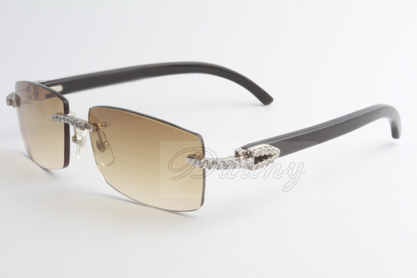 2019 newest fashion large diamond sunglasses Black horns sunglasses 3524012 (2) size: 56-18-140mm