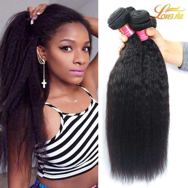 Factory 7A Brazilian Human Yaki Hair Extension Brazilian Virgin Human Kinky Straight Hair Weave Natural Color Machine Double Weft