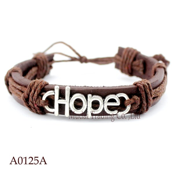 ANTIQUE SILVER HOPE CHARM Adjustable Leather Cuff Bracelets for Men & Women PUNK Friendship Casual Wristband Jewelry