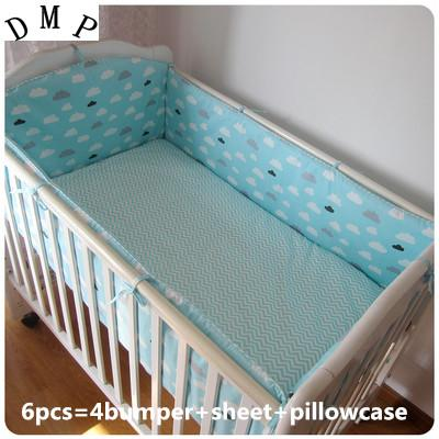 Promotion! 6PCS Baby Cot bedding set 100% cotton baby bumper set bedclothes bed decoration (bumpers+sheet+pillow cover)