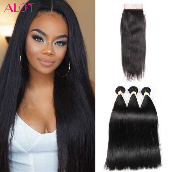 Buy Three Get One Free ! Brazilian Virgin Hair Bundels Straight Hair Unprocessed Human Hair 3 Bundles with 4x4 Lace Closure