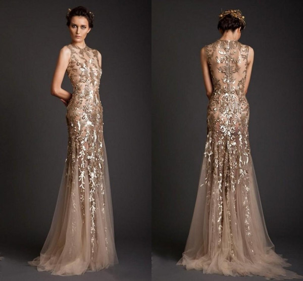 top popular Krikor Jabotian Evening Dresses 2017 Gold Mermaid Shape Tulle Sheer See Through Appliques Prom Dress Emboridery Long Formal Dubai Gowns 2020