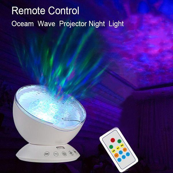 New Ocean Wave Projector Nightlight Baby Sleeping Night Lamps IR 12pcs RGB Led Speaker for Kids