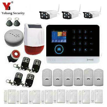 Wholesale- YobangSecurity Intruder Alarm System Wifi GSM GPRS Home Security System Burglar Alarm With Solar Power Siren Outdoor IP Camera