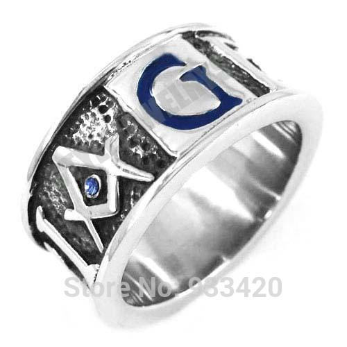 Free Shipping!Blue G Crystal Masonic Ring Stainless Steel Jewelry GEOMETRI Carve Words Freemasonry Motor Biker Men Ring SWR0358B