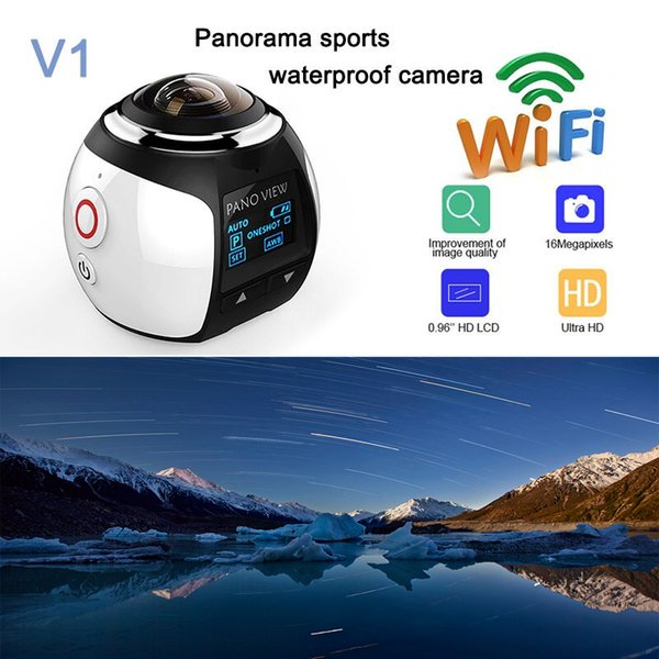 MOQ:2PCS V1 HD 4K 360 Camera Ultra Mini Panoramic Camera WIFI 16MP 3D Waterproof Sports Driving VR Action Camera Action Video cam