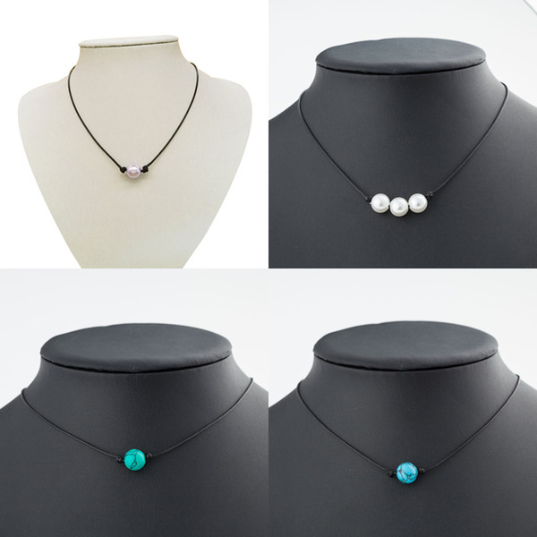 Minimalist pearls choker necklace Black Handmade Leather Rope Blue Turquoise pendant necklaces For women Imitation Natural Pearl DIY Jewelry
