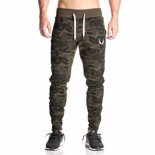 best selling New Casual Fitted Tracksuit Bottoms Camouflage Gym Pants Mens Sports Joggers Elastic Sweat Pants Gym Bodybuilding Sweatpants