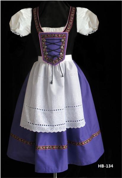 Sexy Vintage French Maid Costume Women Purple Patchwork Dress Classic Beer Girls Halloween Oktoberfest Festival Cosplay Fancy Dress