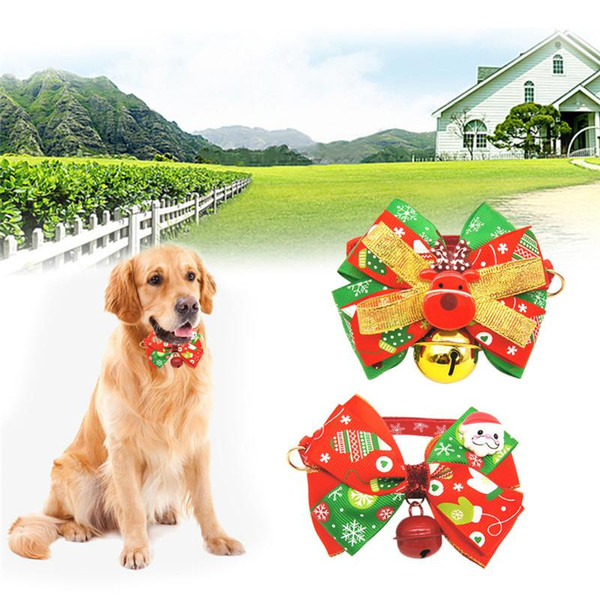 New Cats Dog Snowflake Tie Wedding Accessories Dogs Bowtie Collar Holiday Decoration Christmas Grooming Pet Supplies
