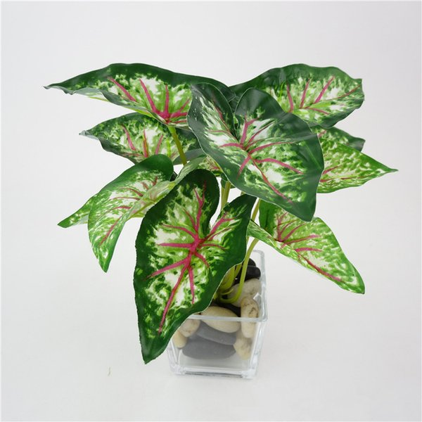 Wholesale-Home Decoration Artificial Green Plants Plastic Fake Flower Leaves Mini simulation small potted green plant taro leaves