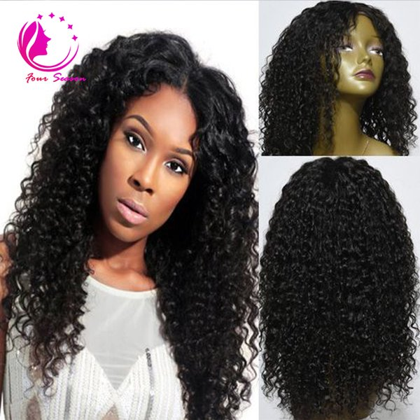 Cheap Brazilian Human Hair Lace Front Wigs Glueless Virgin Hair Kinky Curly Full Lace Wigs For Black Women Bleached Knots For Sale
