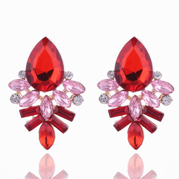 Fashion Alloy Gem Earrings Handmade Rhinestone sweet stud crystal Geometric Water Drop Dangle earrings DHL free shipping