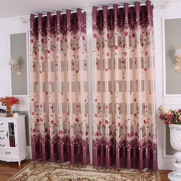 top popular Rose Curtain for Living Room Bedroom Pastoral Style Elegant Romantic Rose Floral Design Door Window Treatment 2020
