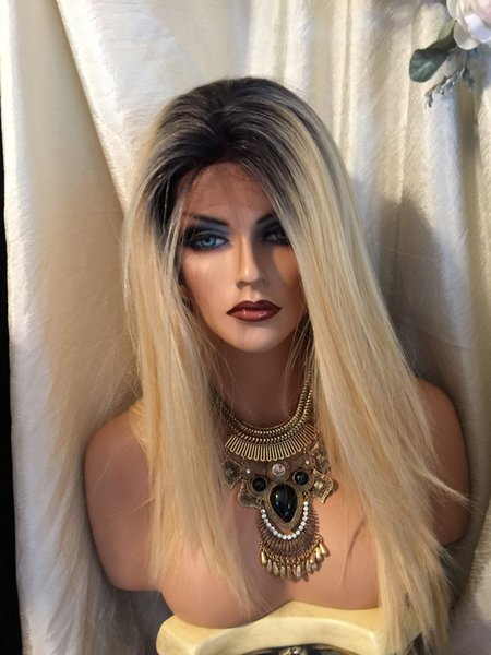 1b 613 dark root Vrigin human hair ombre blonde full lace wig and lace front wig 1b 613 silky straight Free shipping