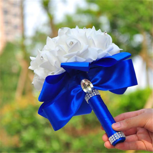 Elegante Rosa Artificial Nupcial Buquê De Noiva Buquê de Noiva Buquê De Noiva de Cristal Azul Royal Fita De Seda New Buque De Noiva 6 Cores
