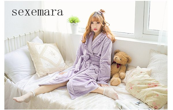 Wholesale- 2017 new arrival fashion women sleeping cloth feel comfortable flannel Shallow purple Bow flower lace free shipping