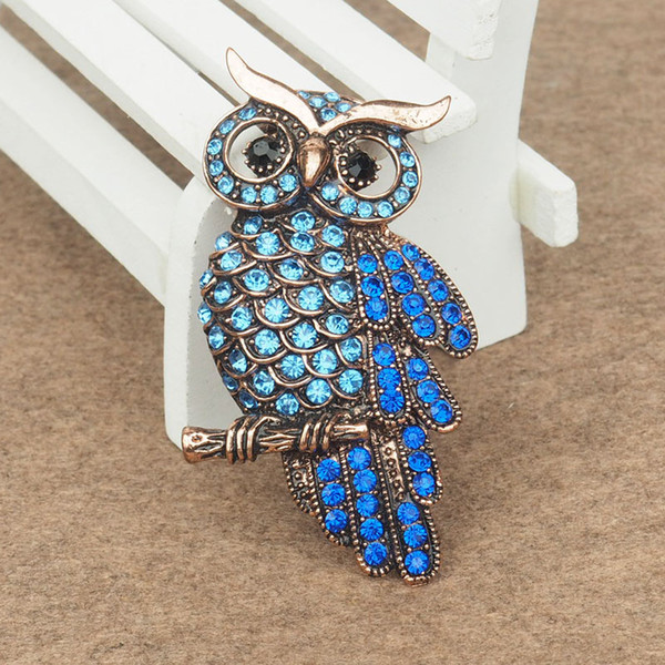 Brand new fashion vision crystal owl pins Brooches silver or bronze colors metal 5 colors for choice brooch pin jewelry HBRO00002