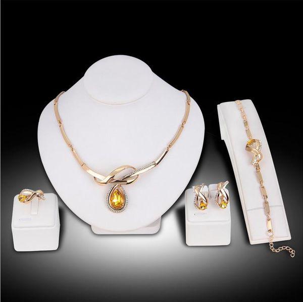 Collana di cristallo giallo di qualità superiore Boutique donne collana 4PCS Set di gioielli donna anello orecchini bracciale collana