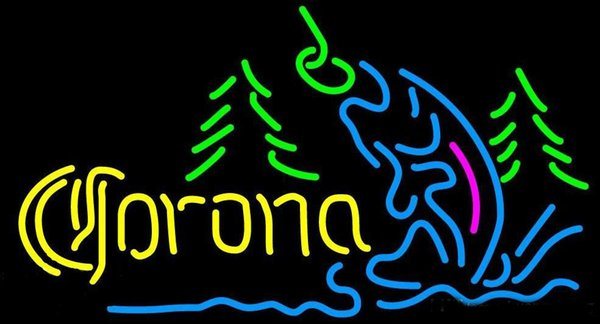 "Corona Mountain Flying Fish Neon Sign Custom Handmade Real Glass Tube Store Beer Bar KTV Club Hotel Advertisement Display Neon Signs 17""X10"""