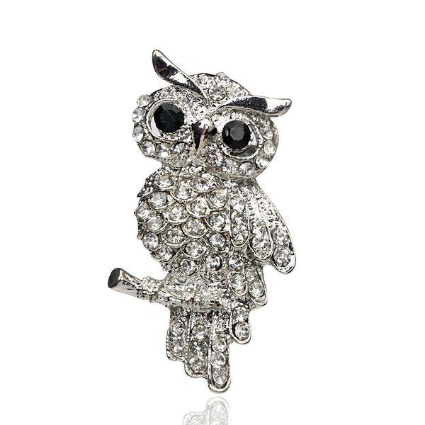 Moda argento placcato gufo stile brillante cristallo intarsio gioielli signora strass spille per gioielli da sposa lotto 10 pezzi