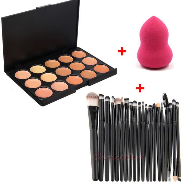 15 Color Contorno Crema Facial Maquillaje Corrector Paleta + 20 Unids Pinceles de Maquillaje Sombra de Ojos Delineador de Labios Herramienta de Pincel Cosmético + Esponja Puff