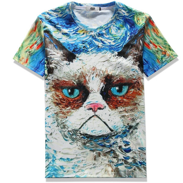 Oil painting T shirt Cat face canvas short sleeve gown Leisure tees Nice printing clothing Unisex cotton Tshirt