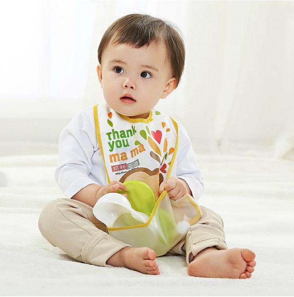 Wholesale- Baby Bibs EVA Waterproof Lunch Bibs Boys Girls Infants Cartoon Pattern Bibs Burp Cloths For Children Self Feeding Care