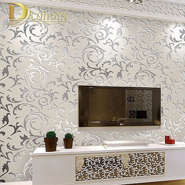 Wholesale-European style non-woven wallpaper classic wall paper roll purple/grey wallcovering luxury wallpaper floral papel de parede V1