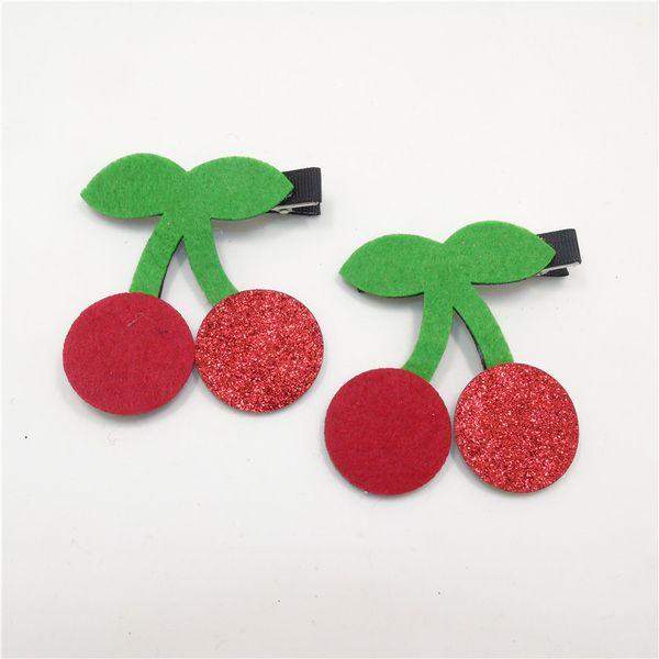 10pc/lot Felt Cherry Hair Clip Red Glitter Cartoon Hairpin Handmade Sweet Fruit Princess Barrettes Top Quality Novelty Hair Grip