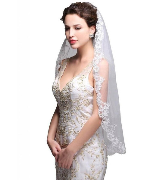 High Quality Bridal Veils With Applique Edge Fingertip Length One Layer Tulle White Ivory Wedding Bridal Veils #F177