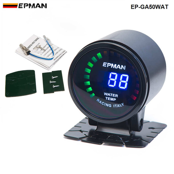 "best selling EPMAN Racing 2"" 52mm Smoked Digital Color Analog Water Temperature Temp Meter with Sensor bracket EP-GA50WAT"