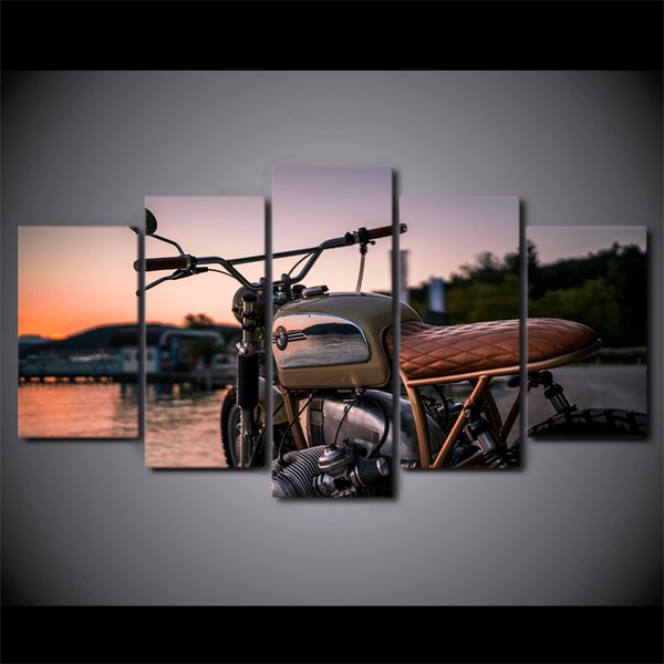 5 Pcs/Set Framed HD Printed Custom Vintage Motorcycle Wall Art Poster Pictures Room Decoration Artworks Canvas Modern Oil Painting