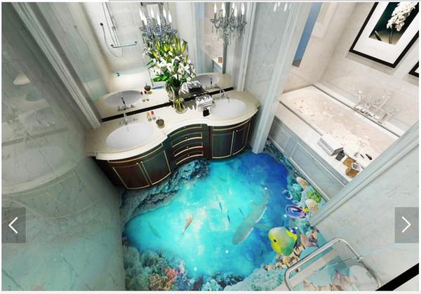 3D wallpaper maßgeschneiderte 3D boden malerei wand papier 3d dunklen ozeanboden fliesen stereograph badezimmer boden wohnzimmer tapete